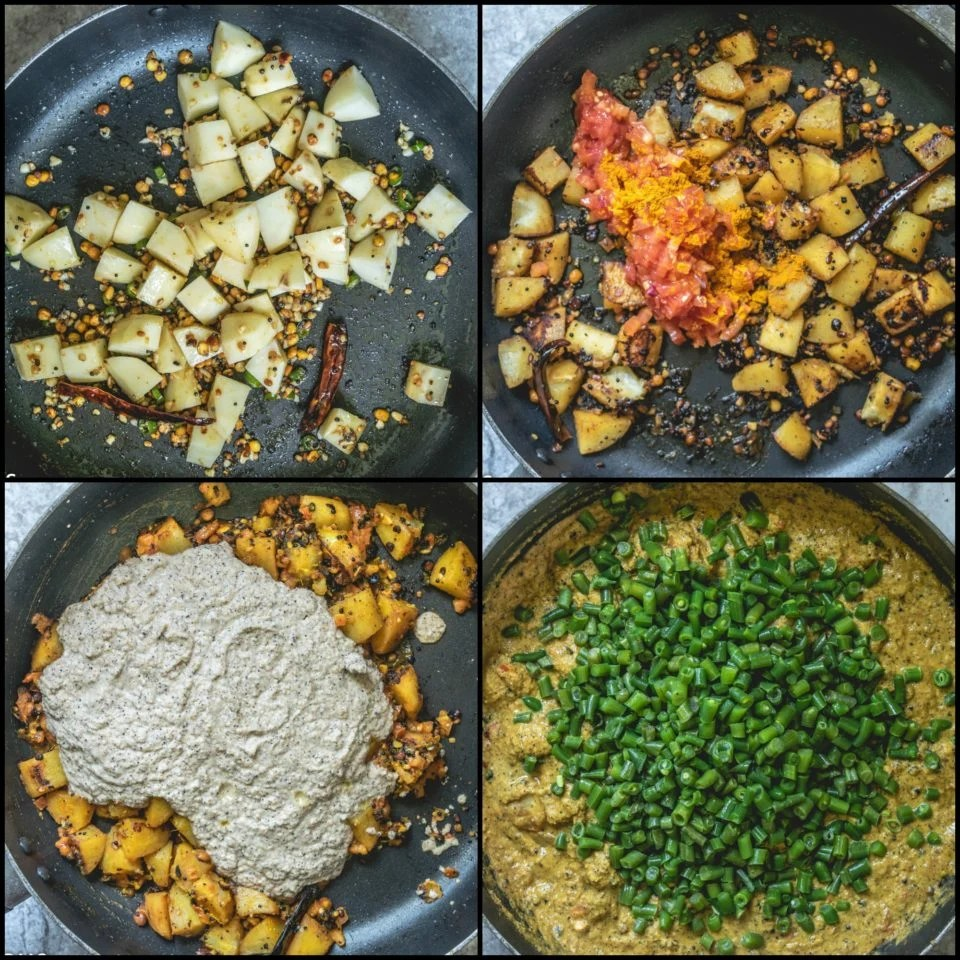 4 image collage showing the steps to make Green Beans & Potato Gravy