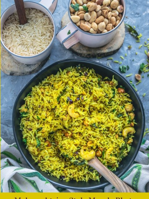 a bowl full of Masale Bhat with a wooden spoon in it and a mug full of rice and another mug filled with peanuts on the side and text at the bottom