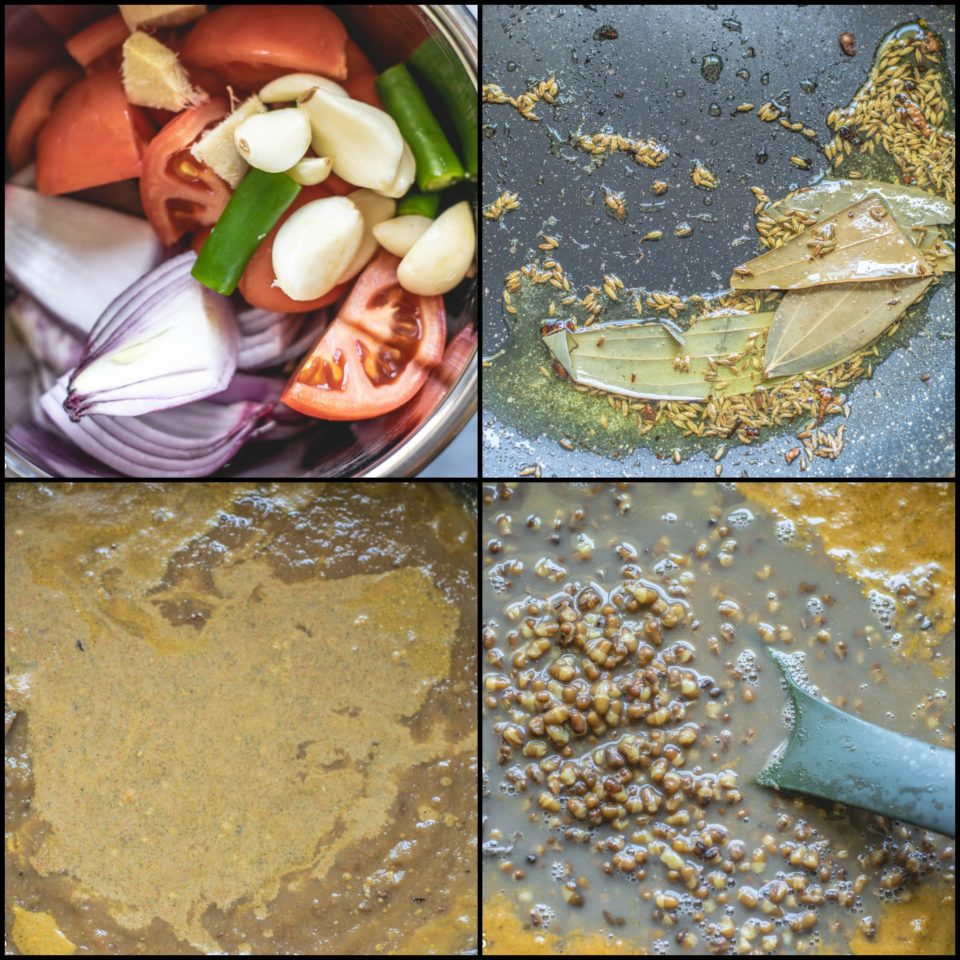 4 image collage showing the steps to make Black Lentils Stew | Kali Dal | Maa Ki Daal