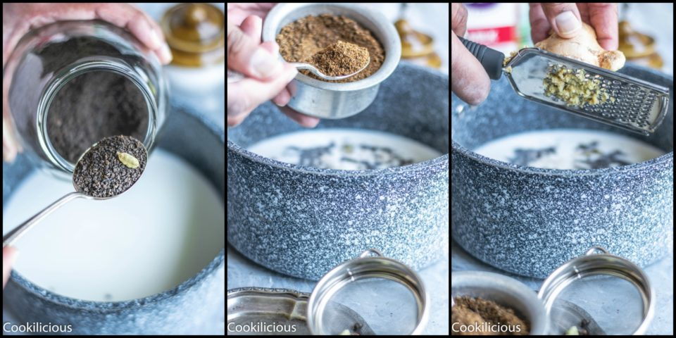 3 image collage showing the process to make masala chai
