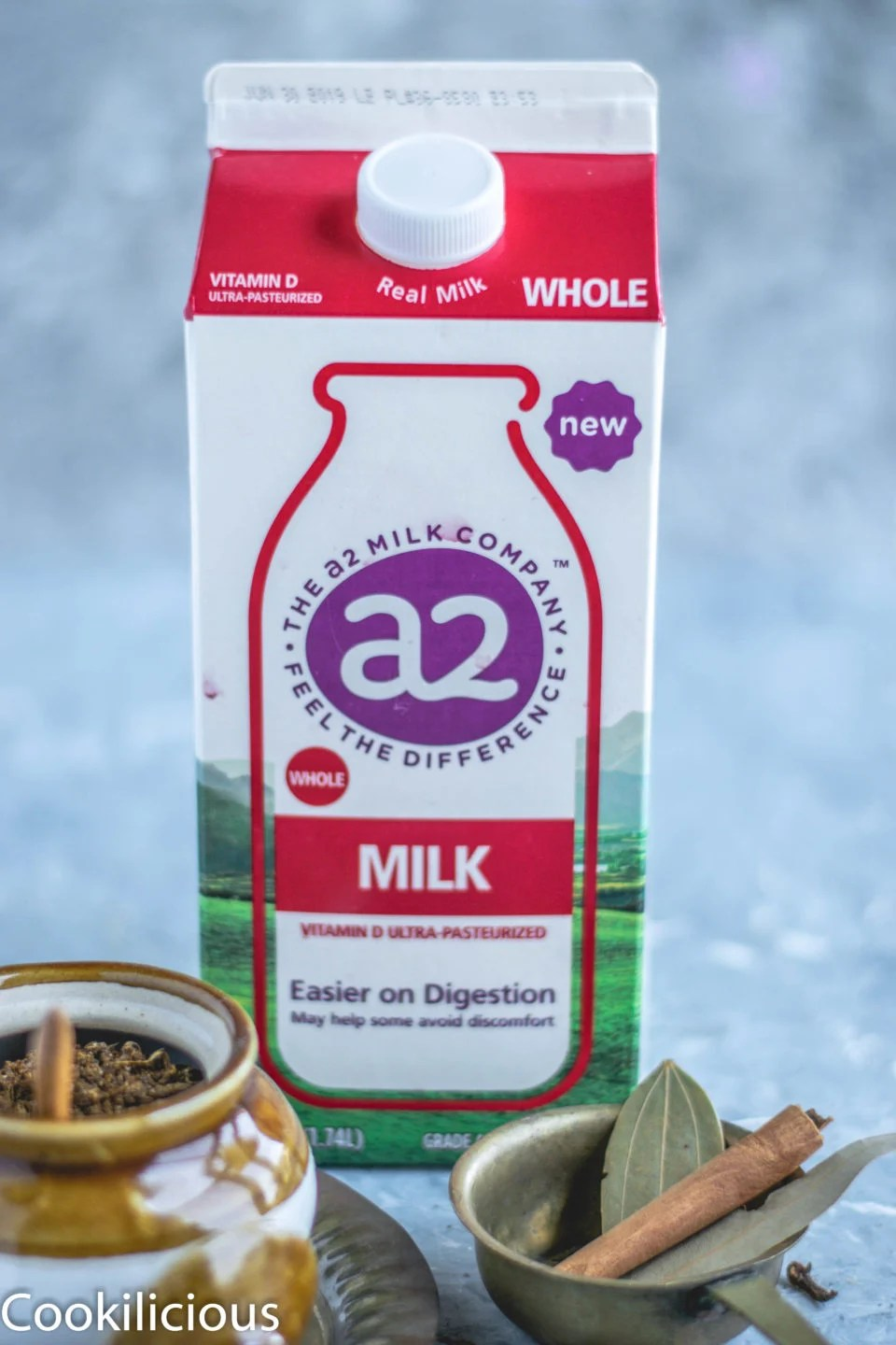 image of a carton of a2 milk used to make masala chai