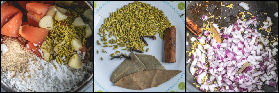 3 image collage showing the steps to make South Indian Chickpeas Curry | Chettinad Kondai Kadalai Kuzhambu