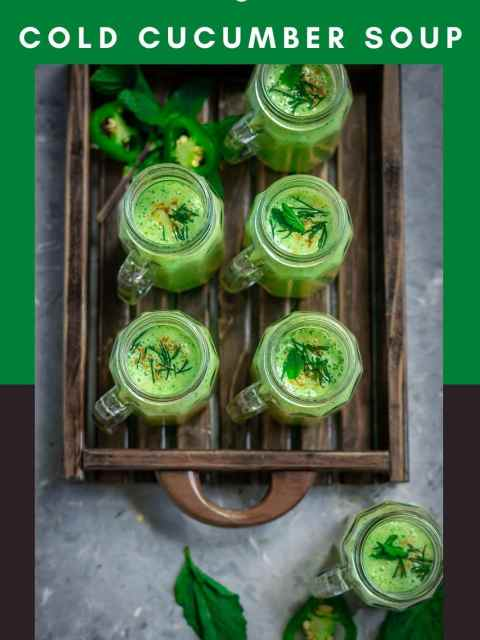 5 shot glasses filled with Cold Cucumber Soup Shots in a wooden tray and text at the top