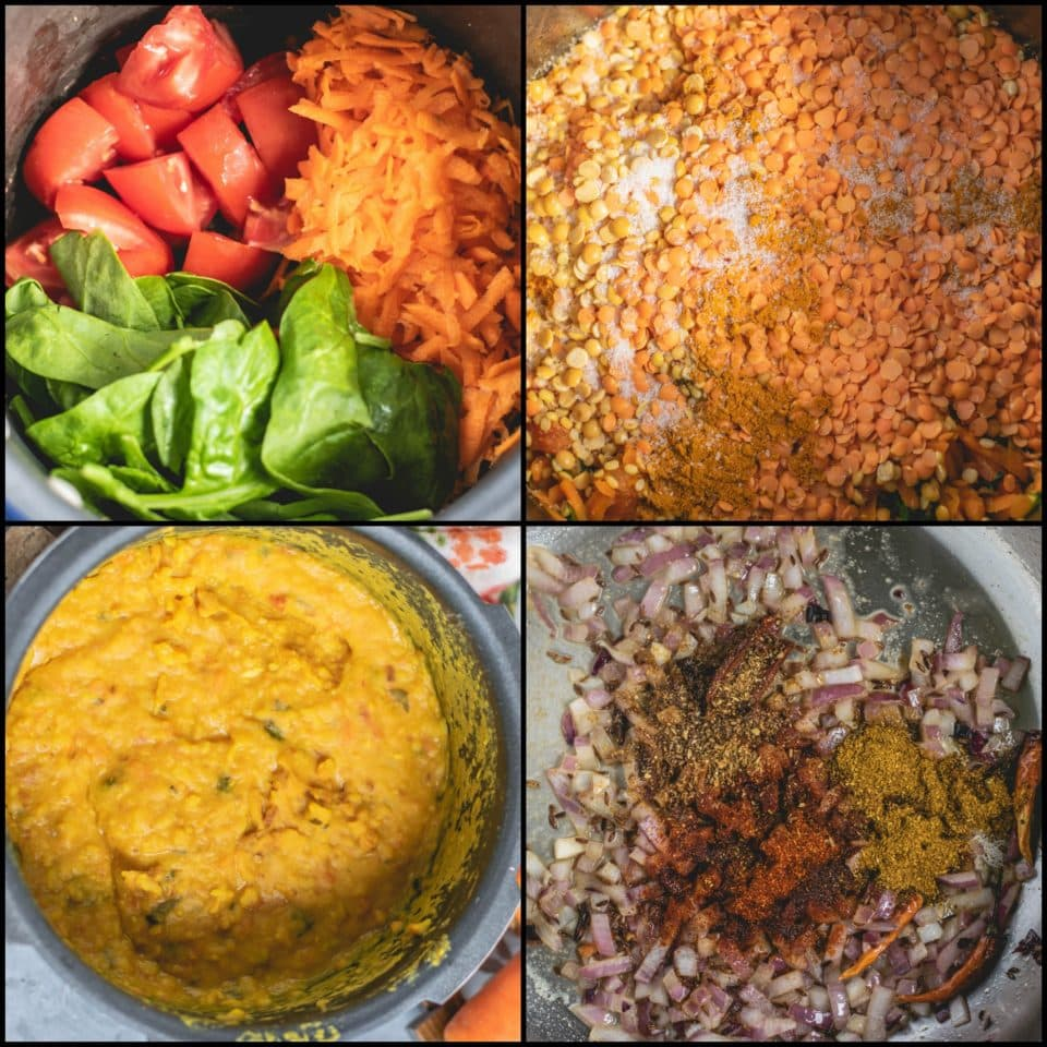 4 image collage showing the steps to make Roasted Lentils & Carrot Dal With Spinach