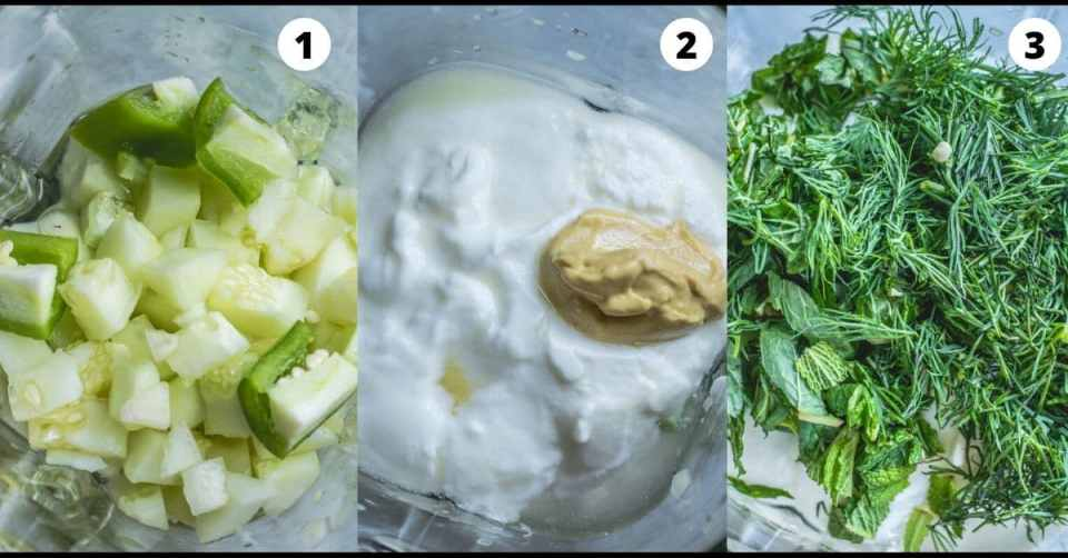 3 image collage showing the steps to make Cold Cucumber Soup Shots