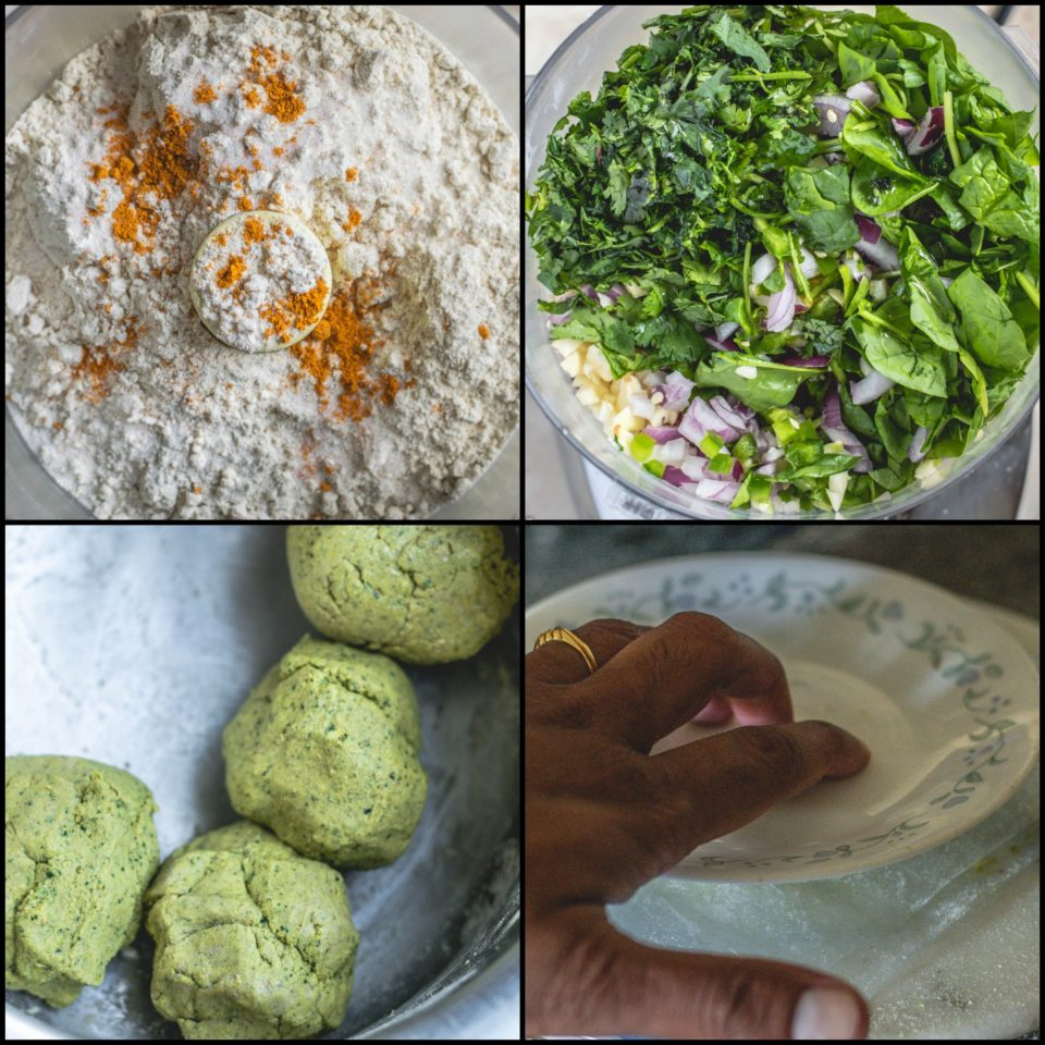 4 image collage showing the steps on how to make Bajra Jowar Bhakhri