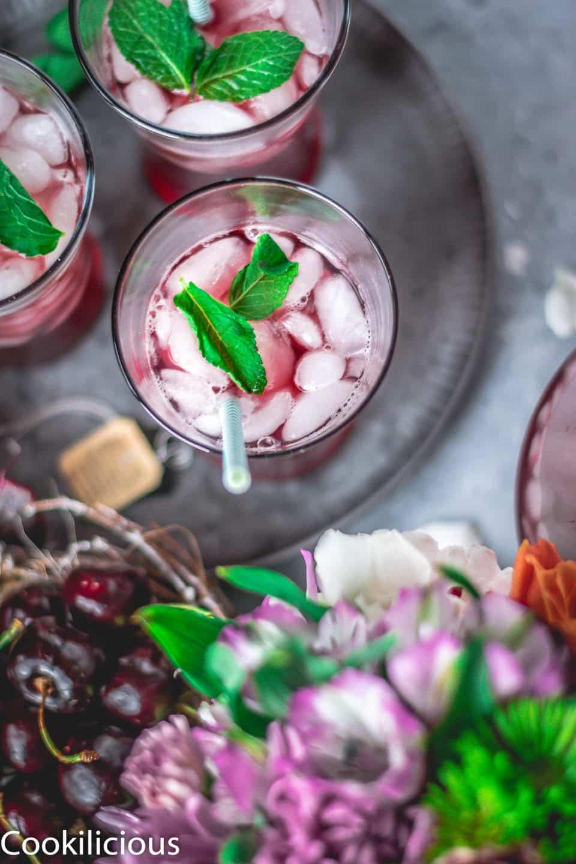 top angle shot of Cherry Lemon Iced Tea in a glass