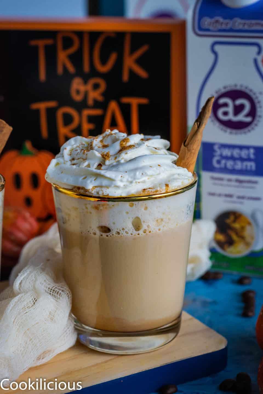 front shot of Spiced Coffee & Pumpkin Latte