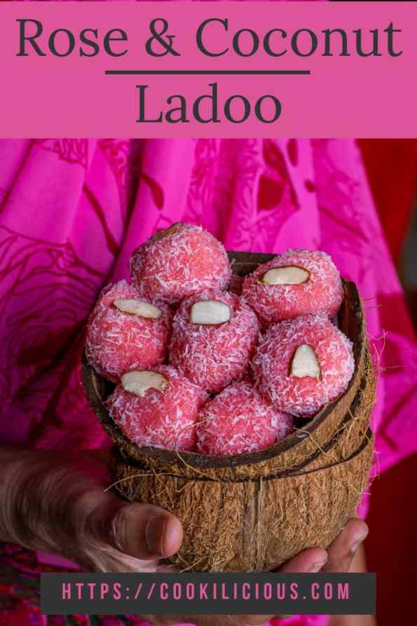Instant Rose flavored Coconut Ladoo in a coconut shell held by a lady with text on top and bottom