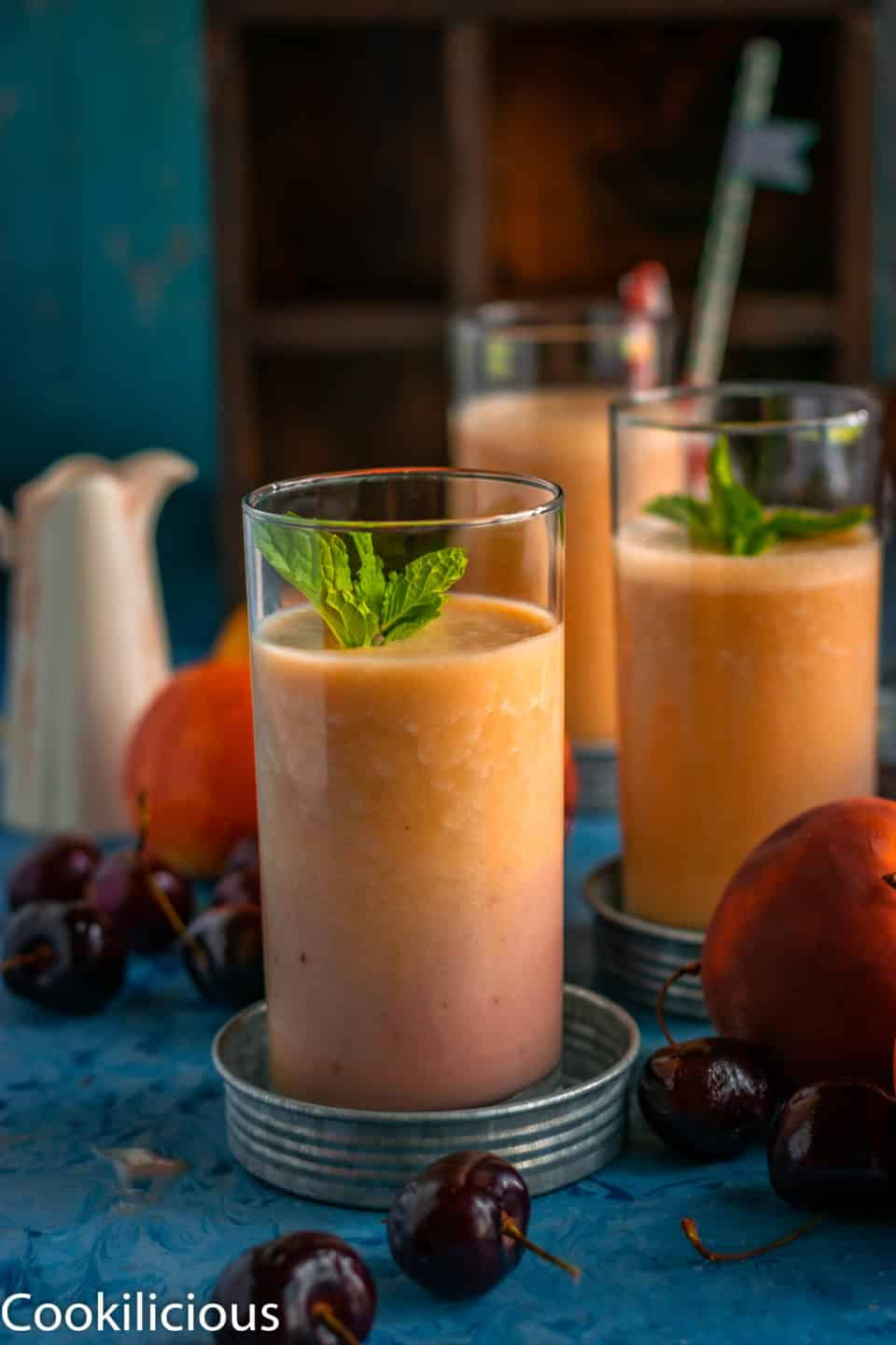 Peach & Raspberry Creamsicle Vegan Smoothie in a tall glass