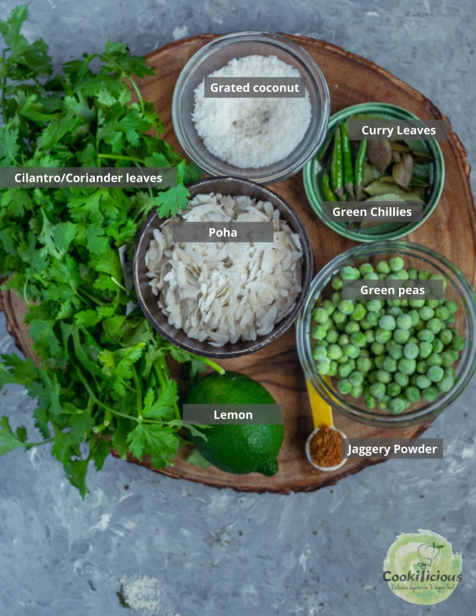 all the ingredients needed to make cilantro poha recipe are placed in a platter