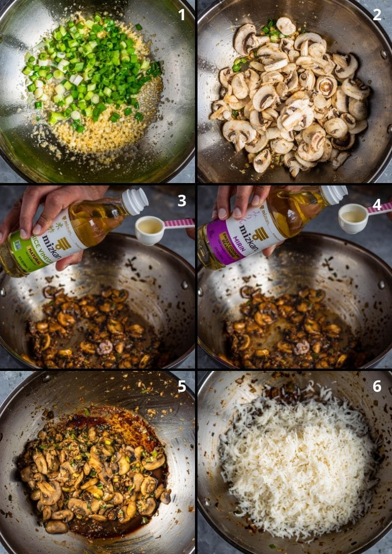 6 image collage showing the process of making Japanese fried rice