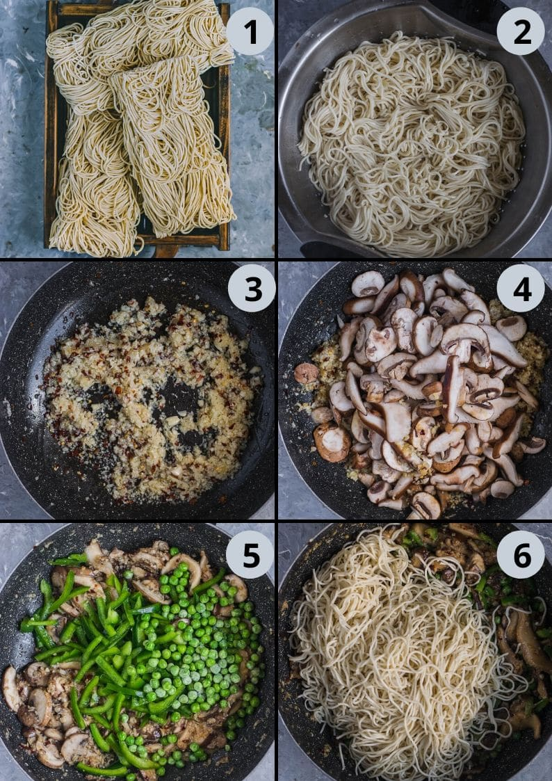 6 image collage showing the steps to make Chilly Garlic Noodles