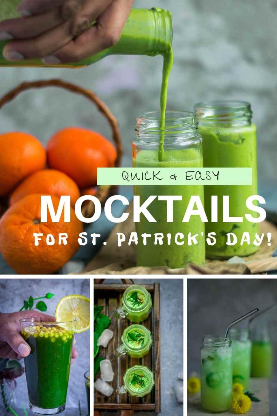 4 image collage of Green Drinks For St. Patrick's Day with text on top