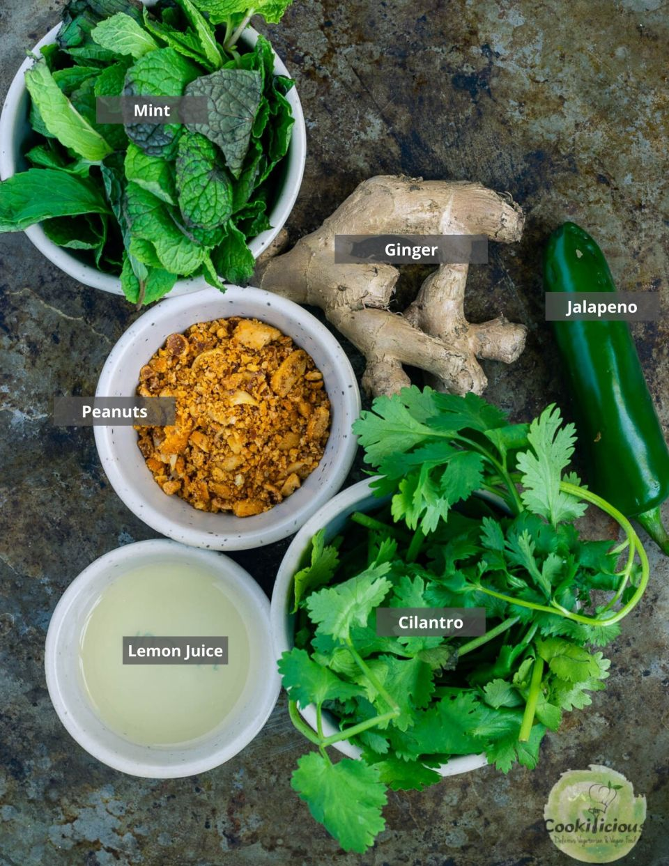 all the ingredients needed to make Mint Cilantro Chutney placed in a tray