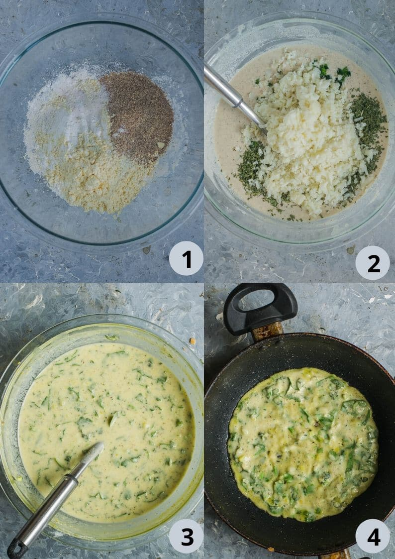 4 image collage showing the steps to make Instant Potato Dosa