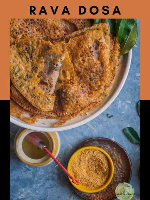 few Wheat Dosa | Instant Wheat Rava Dosa in a plate with a small bowl of molagapodi and oil next to it and text at the top