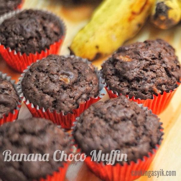 banana choco muffin mudah, muffin coklat enak dan mudah, muffin mudah
