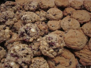 White Chocolate Craisin and Peanut Butter Chocolate Cookies