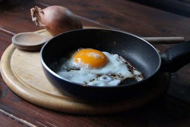 eggs in greased pan