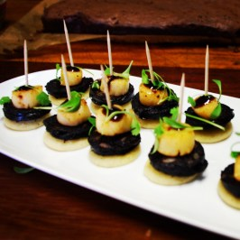 Blinis with Black Pudding and Scallops (3)