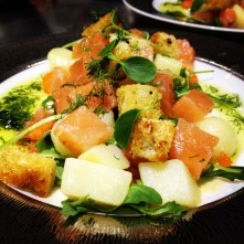 Home Cured Salmon with Pickled Ginger & Wasabi Dressing