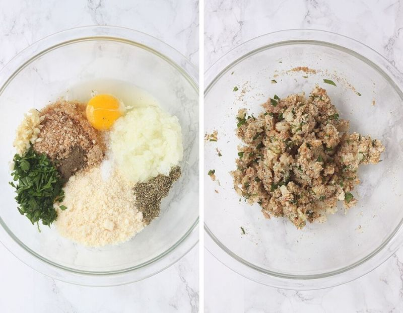 mixing bowl with parmesan cheese, herbs, raw egg and breadcrumbs