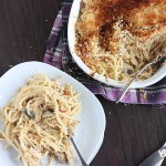 Easy turkey tetrazzini recipe is a great way to use up Thanksgiving leftovers. Rich and creamy sauce and topped with buttery breadcrumb topping.