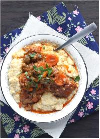 Slow Cooker Country Style Pork Ribs with Parmesan Corn Grits - CookingBride.com