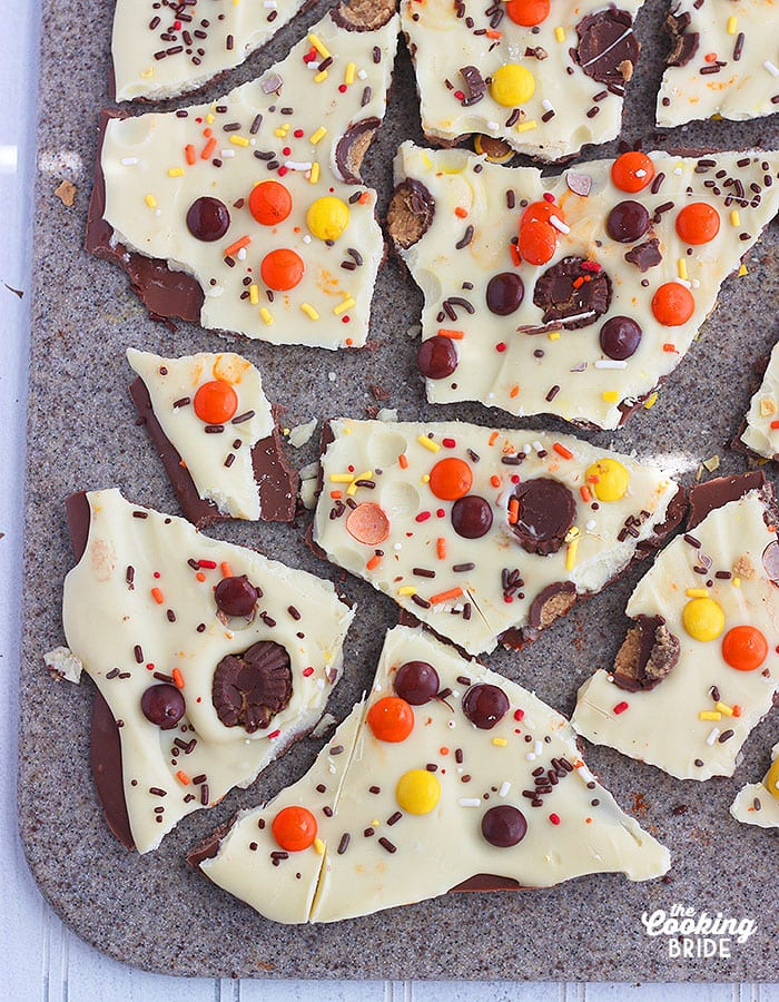 Do-it-yourself chocolate peanut butter bark candy has both milk and white chocolates and sprinkled with Reese's candy for a truly yummy treat.