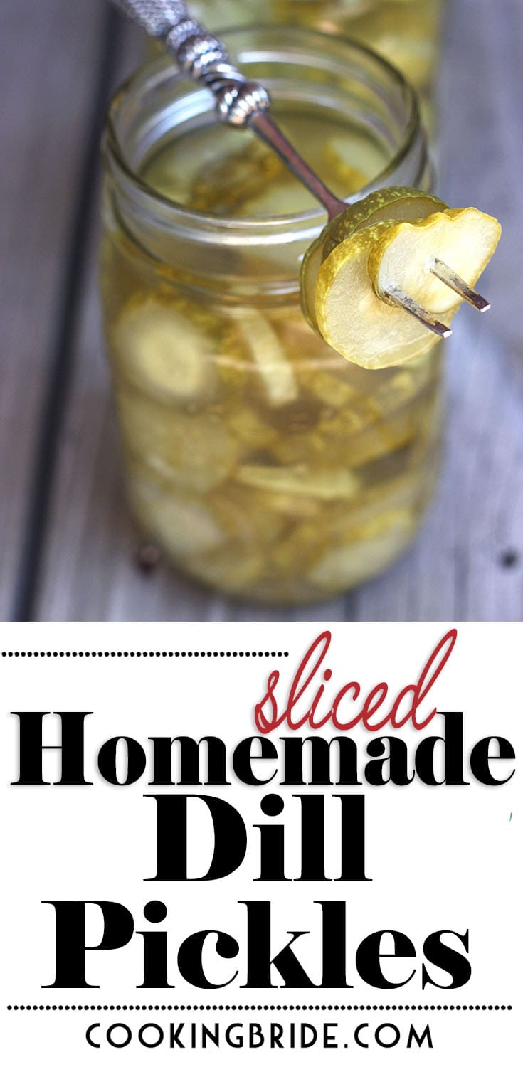 Sliced homemade dill pickles are a great way to use up a bumper crop of cucumbers from your summer garden. This easy recipe is packed full of flavor!