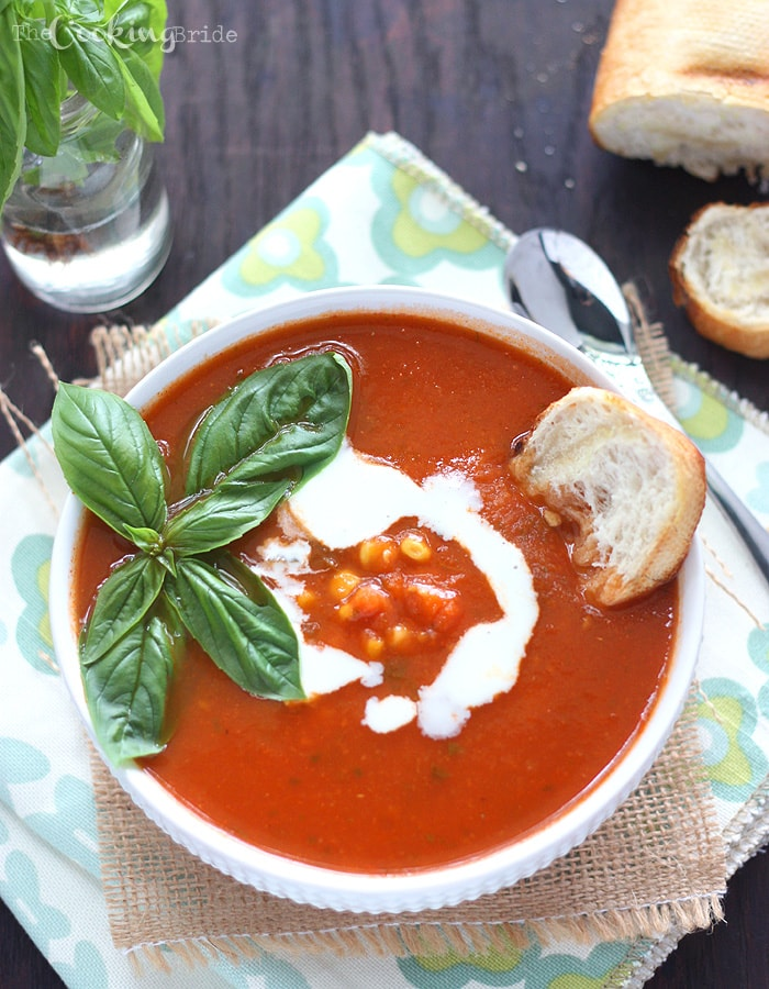 Corn and Tomato Basil Soup | The Cooking Bride