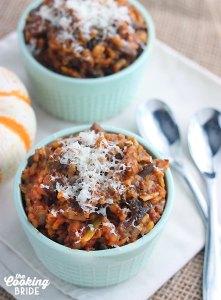 Pumpkin Risotto with Chorizo and Mushrooms - CookingBride.com