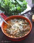 Warm up with this healthy recipe Cannellini Bean, Sausage and Kale Soup. Italian sausage is simmered in tomato broth with tender cannellini beans, vegetables, and kale.