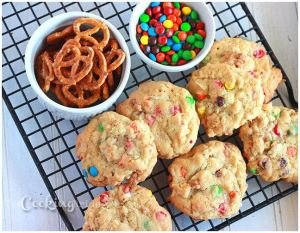 Loaded Cookies with Pretzels, Coconut, and M&M's - CookingBride.com