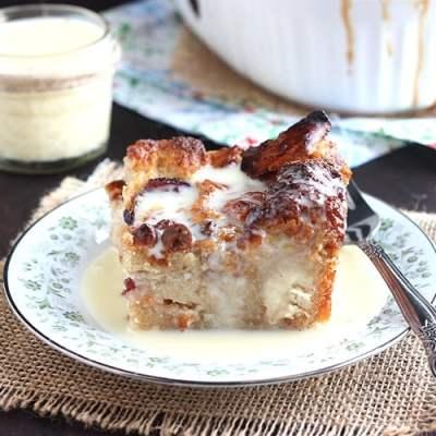 White Chocolate Cranberry Bread Pudding