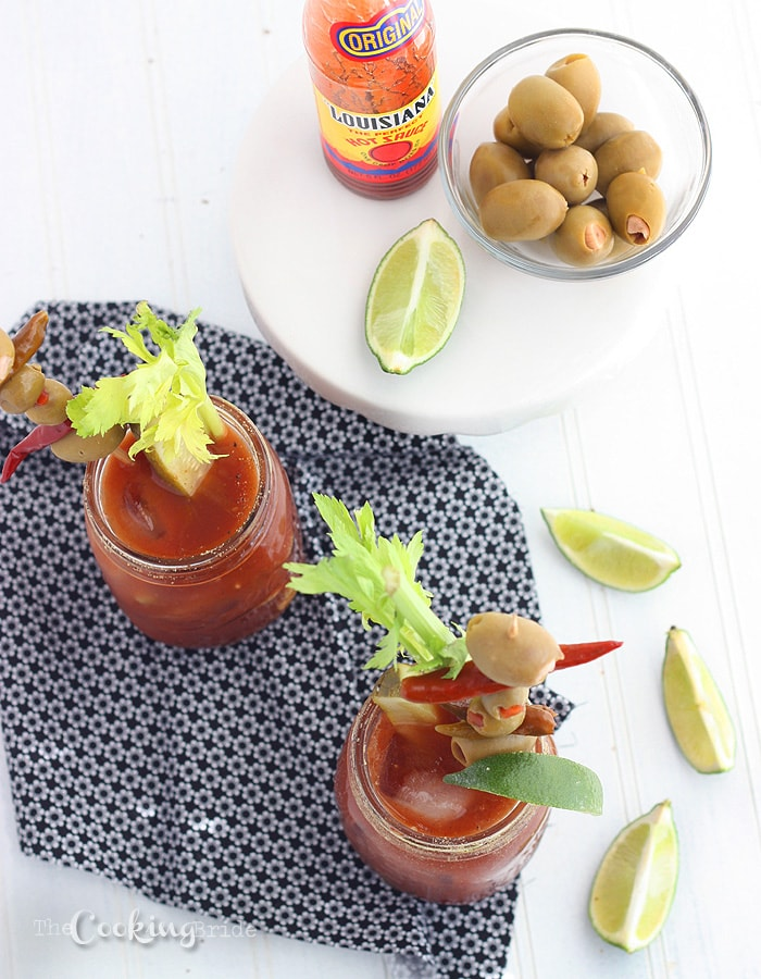 Hosting a large brunch crowd? It's not a proper brunch without a Bloody Mary cocktail. This spicy recipe is enough for an entire pitcher. Don't for get the garnishments!