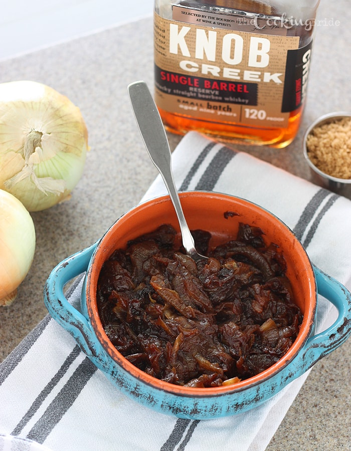 Bourbon and brown sugar give these slowly simmered caramelized onions a rich, creamy flavor and buttery texture. Delicious on just about everything!