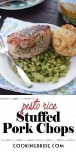 pesto rice stuffed pork loin chops