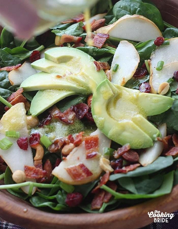 spinach pear salad