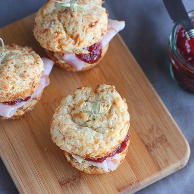 Cheddar Biscuit Ham Sliders