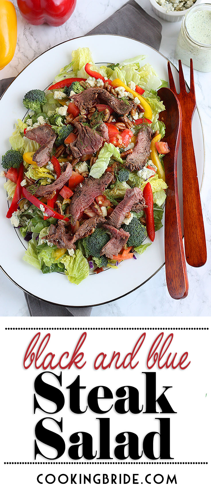 Black and blue steak salad is a healthy meal that satisfies, Crisp salad greens are loaded with crunchy vegetables, salty blue cheese, tomatoes and thinly sliced roast beef. Top everything with a cool and creamy herb dressing.