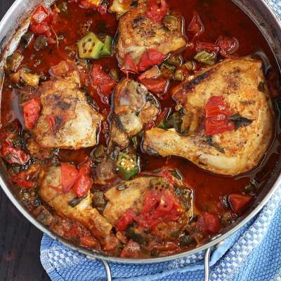 Baked Chicken with Okra and Tomatoes