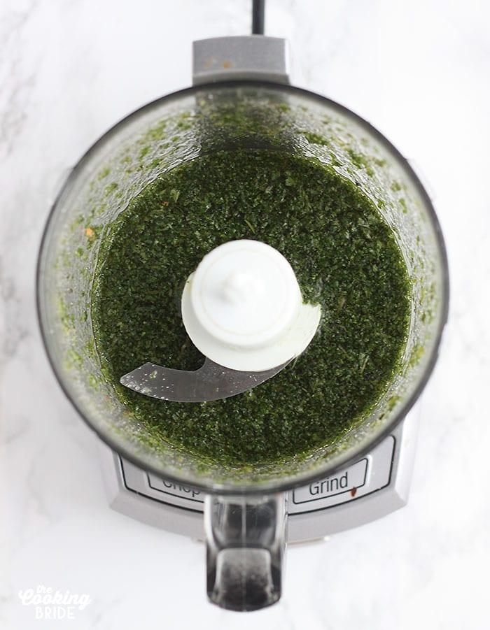 overhead shot of mint julep sauce in a food processor