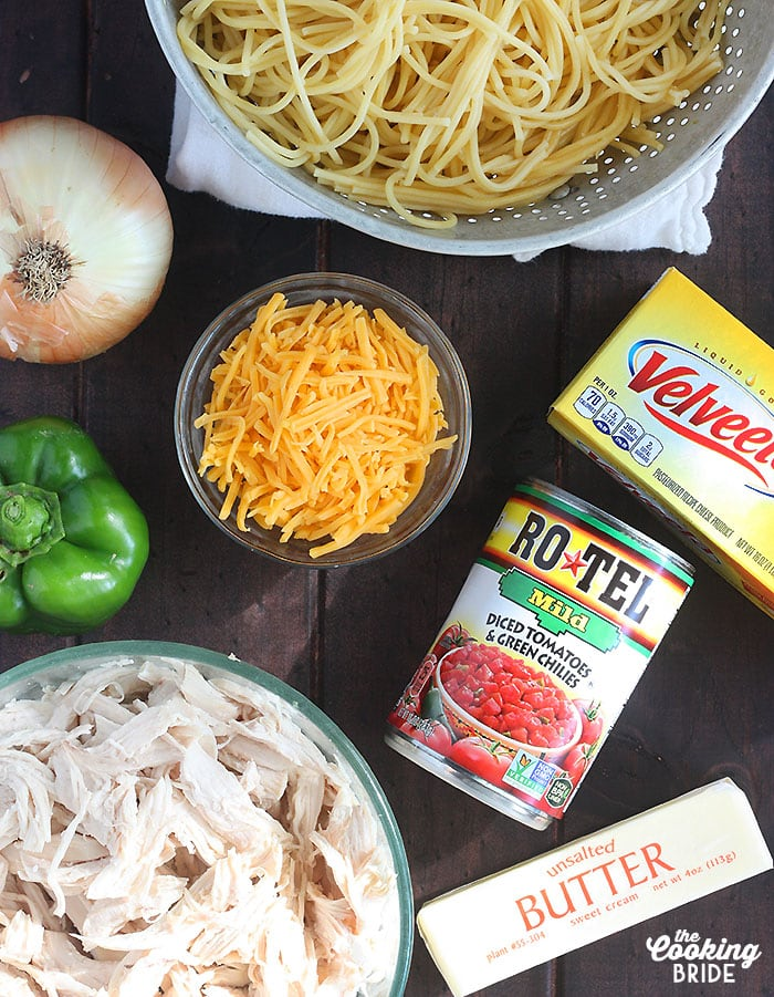 flat lay of ingredients for chicken spaghetti with rotel