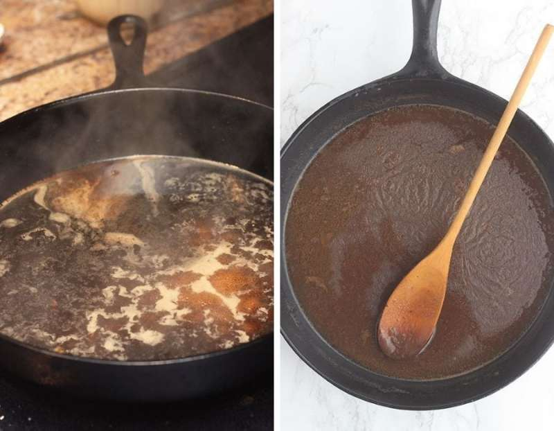 left - red eye gravy simmering on the stove in a cast iron skillet. Right - finished red eye gravy in a cast iron skillet