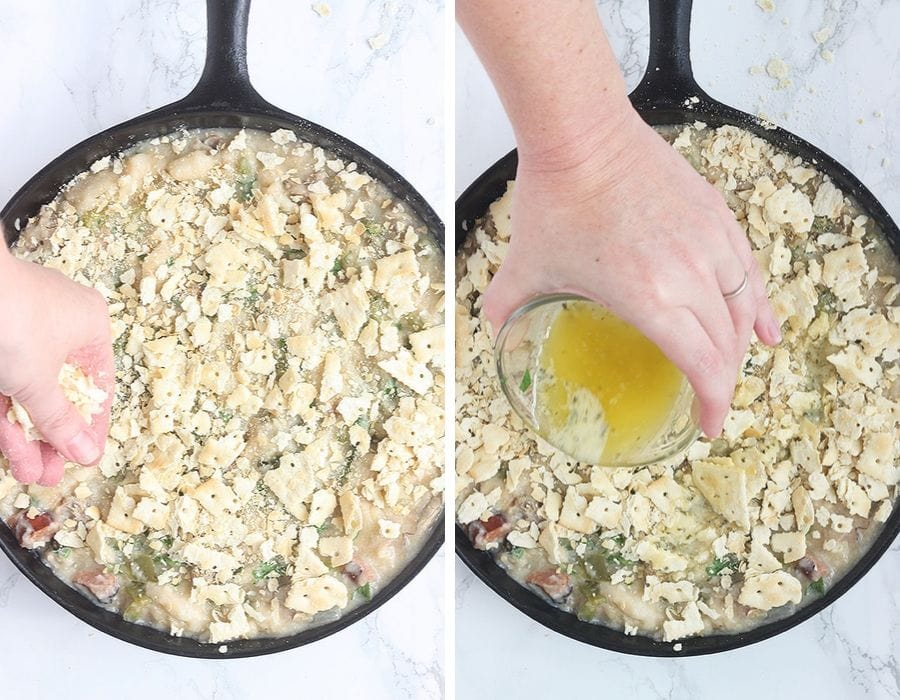 spreading the crust crackers over the oyster dressing and drizzling with melted butter