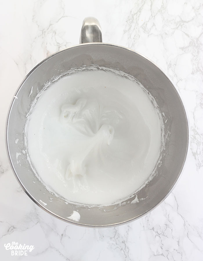 egg whites and sugar whipped into soft peaks