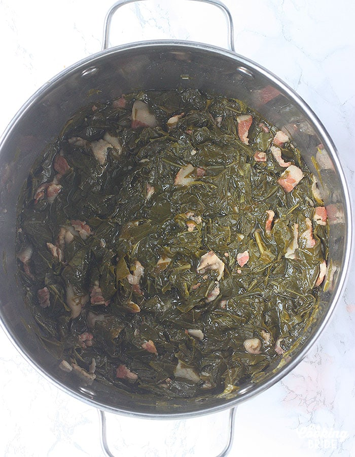 pot of cooked turnip greens