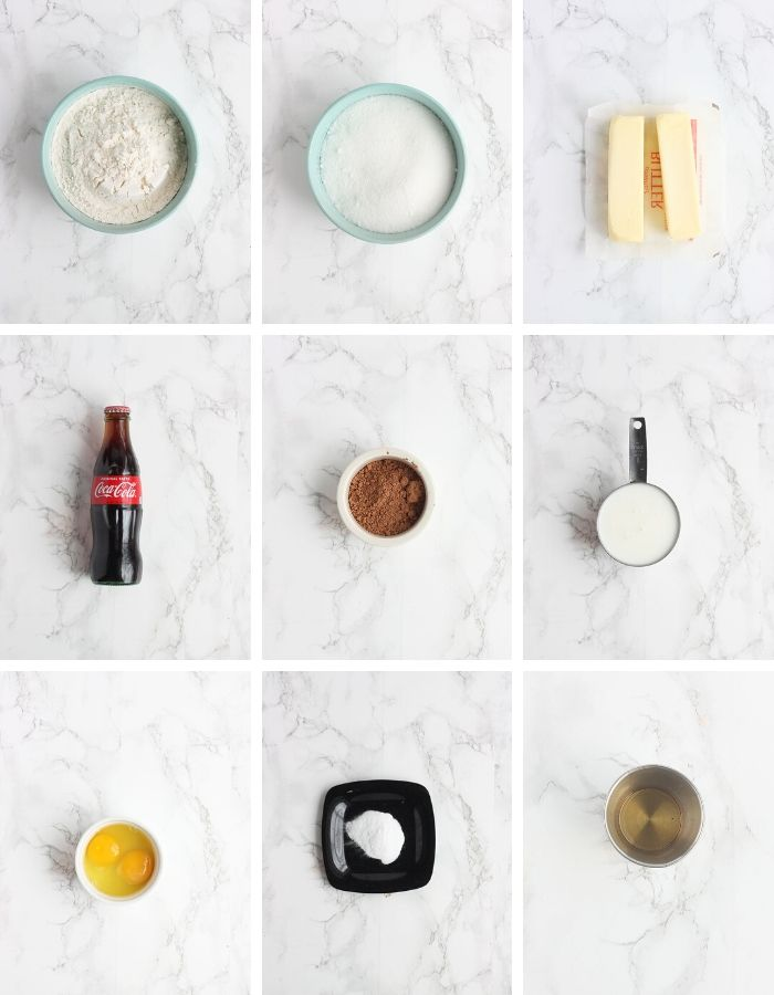 coca cola cake ingredients including flour, sugar, butter, coke, cocoa powder, buttermilk, eggs, baking soda and vanilla.